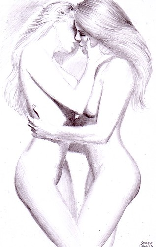 Girls kissing pencil drawing - Doua fete sarutandu-se desen in creion