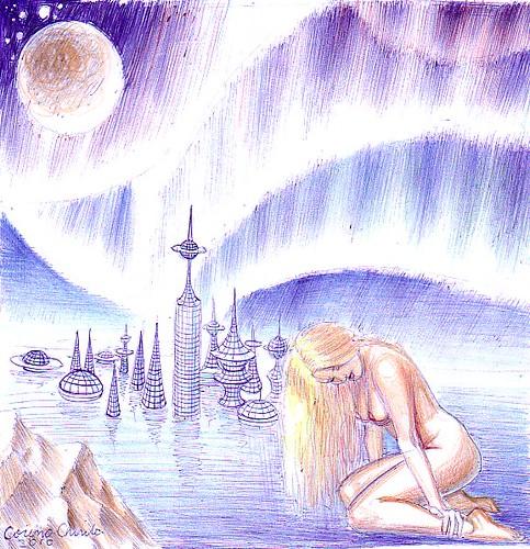 Nud cu oras din viitor si aurore boreale desen