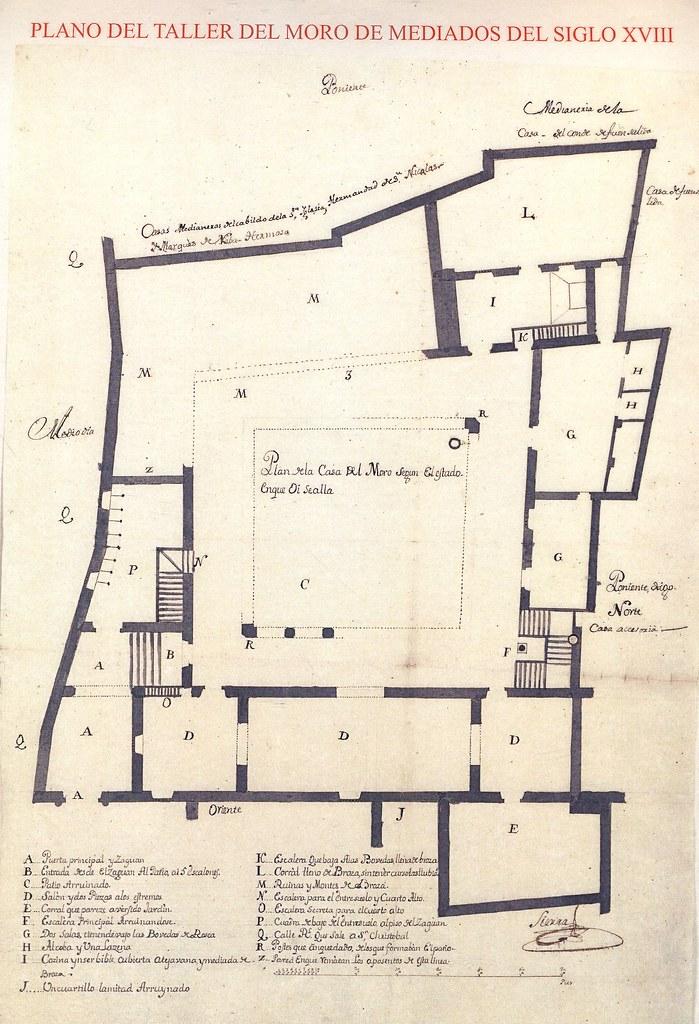 Plano del Taller del Moro por el maestro mayor José Hernández Sierra, realizado a mediados del siglo XVIII