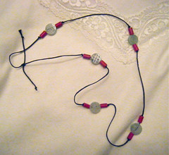 Necklace with Jade and Red Wooden Beads by randubnick