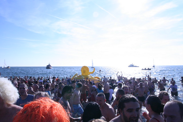 Thousands of people at coney island polar bear swim