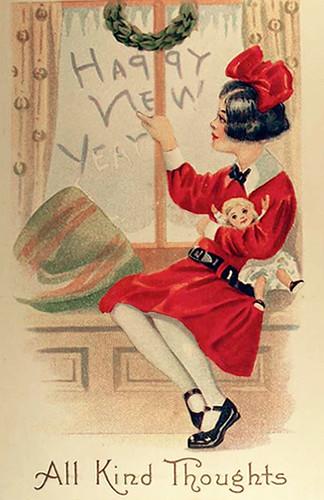 VictorianHappyNewYearGirlwithDoll
