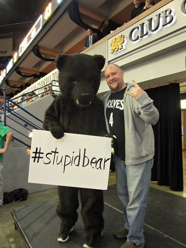 matt and #stupidbear at the timberwolves game