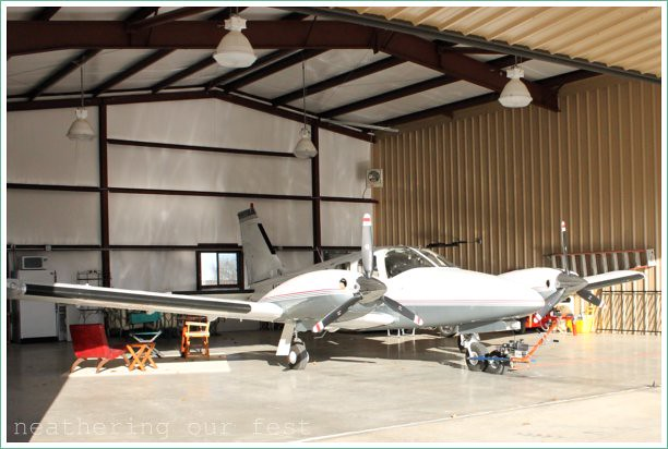 airplane in the hanger