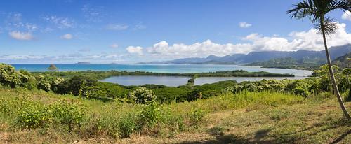 Moli'i Pond seen from Kualoa Ranch, O'ahu, Hawai'i (panorama)