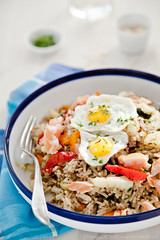 Salmon Kedgeree with Butternut Squash, Parsnip, Fennel and Quail Eggs by Meeta K. Wolff
