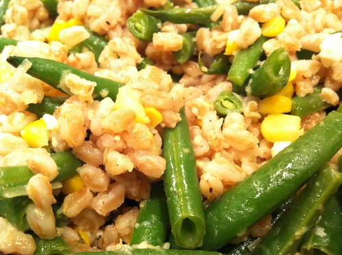 Farrow with green beans, corn, and feta
