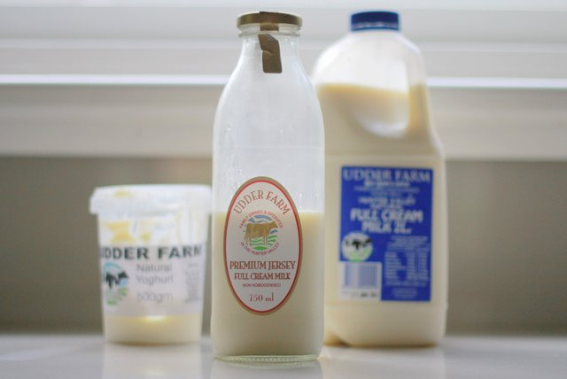 Udder Farm products including milk in glass bottle