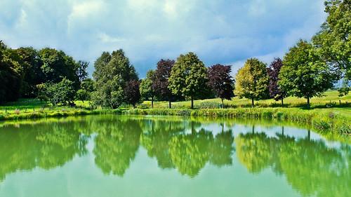 lake france reflection tree nature canon europe hdr photomatix pressigny