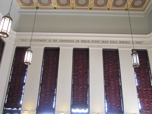 Inscription on the ceiling at Los Angeles City Hall regarding government