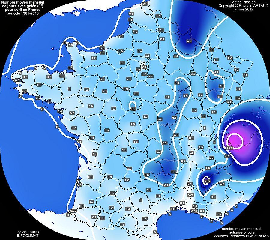 nombre moyen mensuel de jours avec gelée 0° pour le mois d'avril en France sur la période 1981-2010