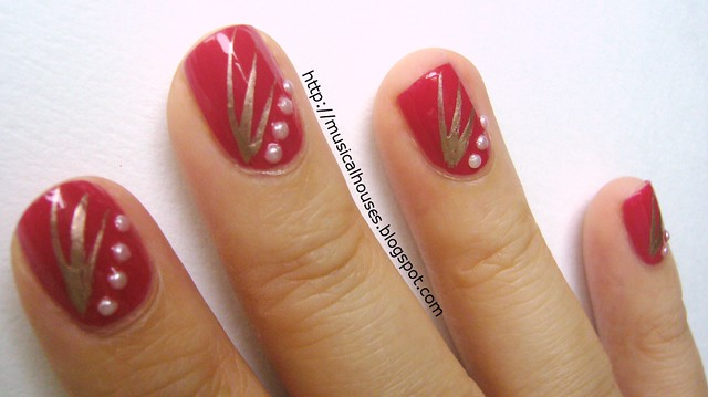 chinese new year nail art red gold 2