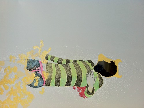 a colorful illustration of an androgynous body lying prone against a grey background. their sweater is colorful, their head is colored black. gold embellishments circle their head and thighs