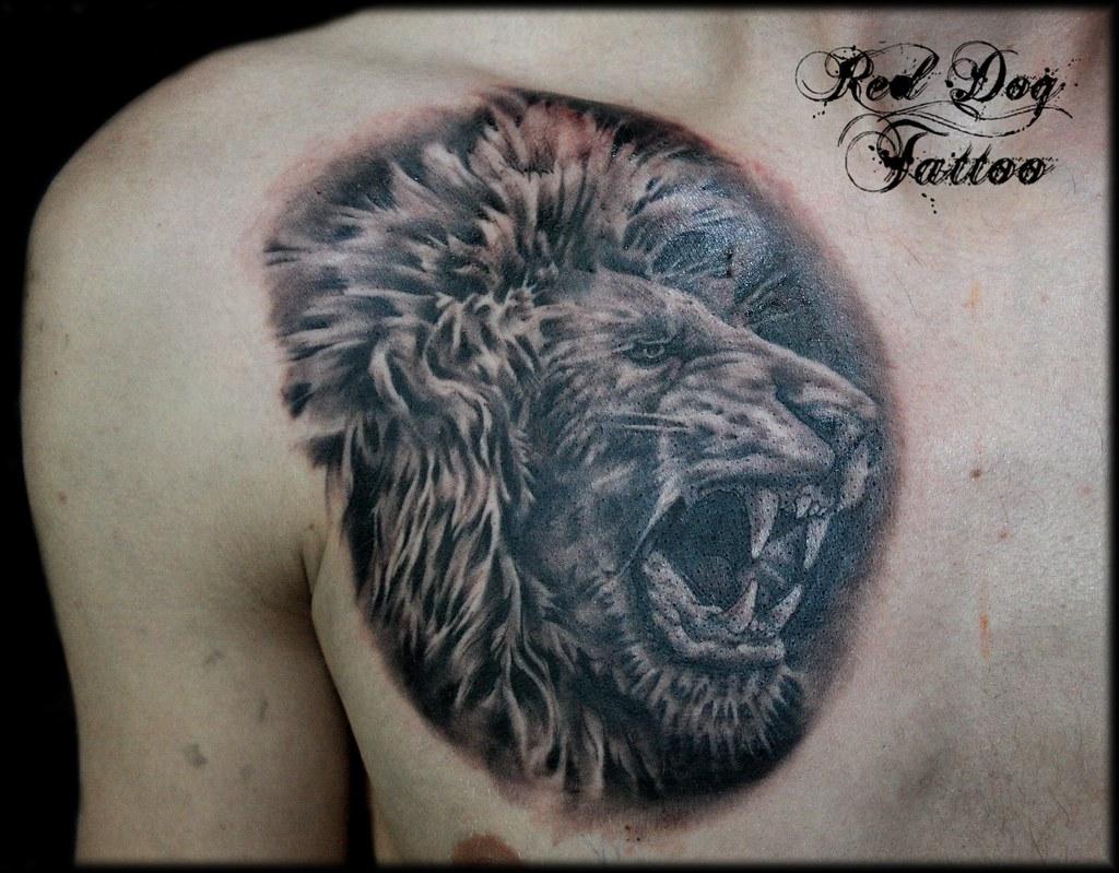 Roaring Lion Profile Tattoo Lion Chest Tattoo - a ...