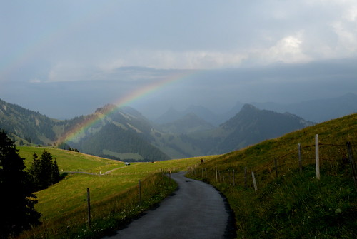 Mountains near Les Paccots with rainbow