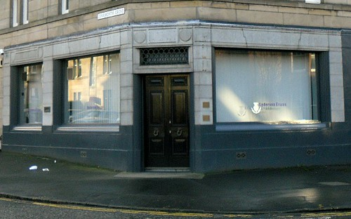 Close-up on Shop on corner of Learmonth Grove and Comey Bank Road, Edinburgh.
