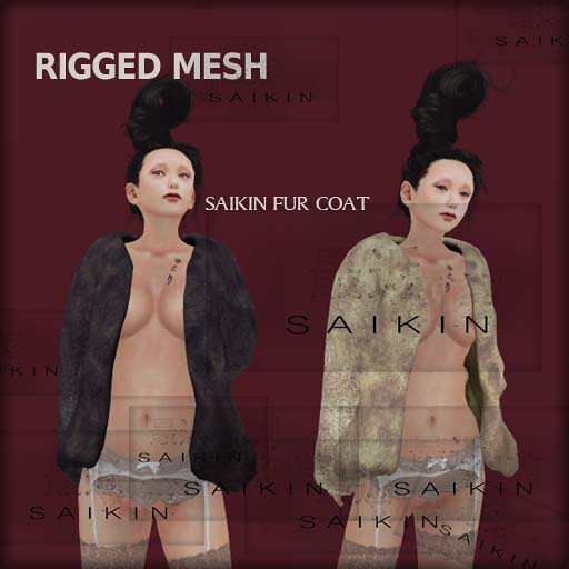 SAIKIN mesh fur coat