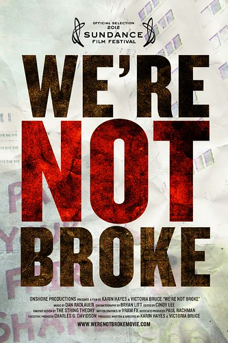 We're Not Broke movie poster, with the title of the movie in red and black bold font