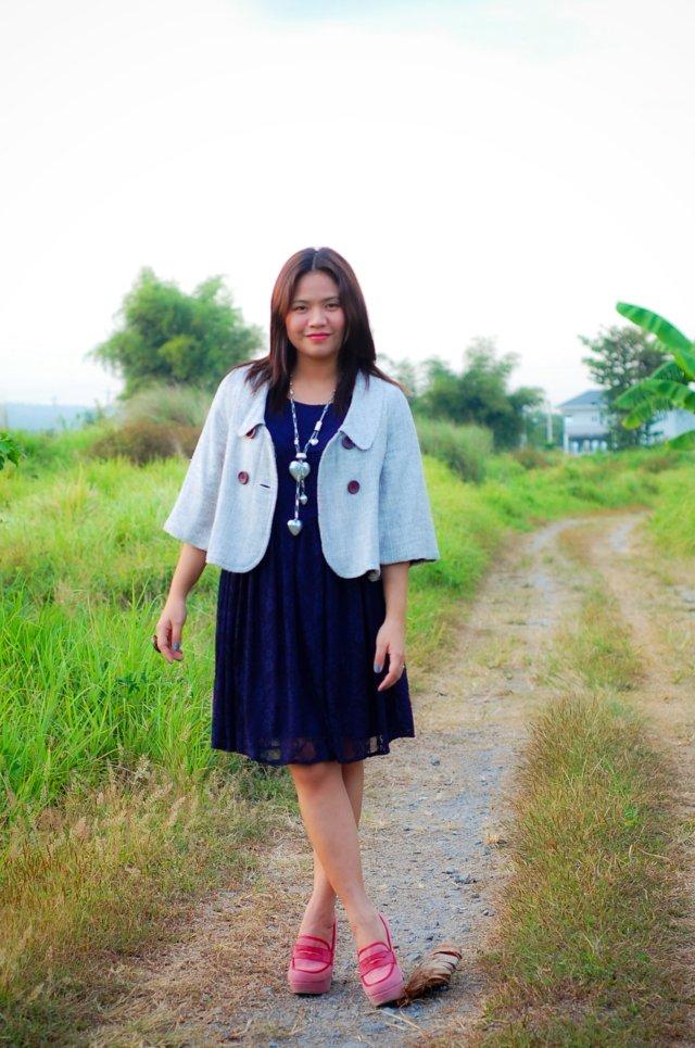Pink Heeled Loafers Shoes, denise katipunera, pinay filipina fashion blogger, mommy style, style on a budget, blue lace dress