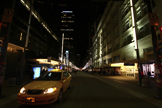 An image of a taxicab on Vancouver's Granville Street at night