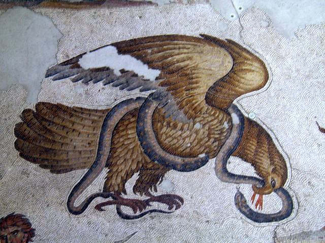 Eagle and Snake, detail of the 6th century mosaic floor from the Palatium Magnum (Constantinople's Great Palace), Palace Mosaic Museum, Istanbul