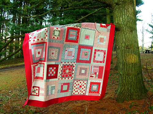Hanging out with my quilt top in the park
