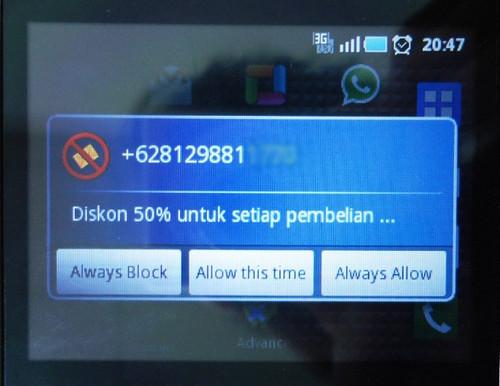 Filter konten SMS di aplikasi smsBlocker