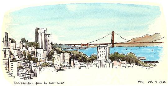 the golden gate bridge, from telegraph hill