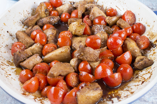 10 minute Chicken and Cherry Tomato Stir-Fry recipe. Serve hot over rice, couscous or noodles.