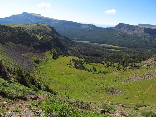 Looking back into the bowl toward Stillwater Reservoir. The peak on the left is Flat Top Mountain, the highest peak in the Flat Tops Wilderness, Colorado.