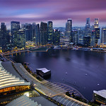 Aerial View of Singapore CBD Skyline, Marina Bay Esplanade and Raffles Place, Singapore