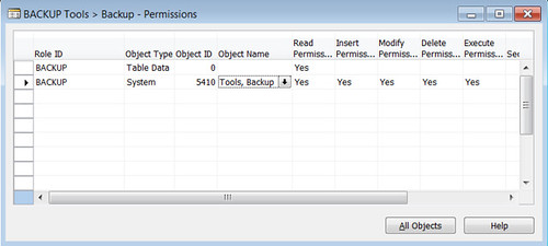 Permissions needed for FBK backup - TableData 0