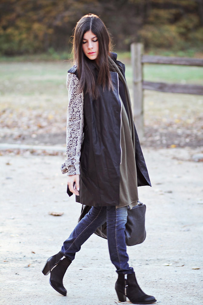 Topshop ambush ankle boots, J Brand skinny jeans, Snakeskin print trenchcoat, Alexander Wang Rocco duffel, Fashion outfit