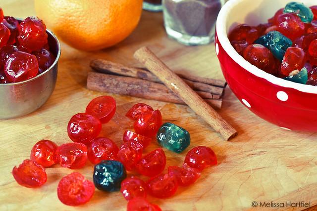 Christmas Biscotti Ingredients, glazed fruit, cinnamon, oranges