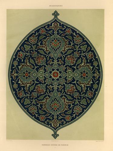 009-Arabescos-panel de ceramica ovoide-L'art arabe d'apres les monuments du Kaire…Vol 2-1877- Achille Prisse d'Avennes y otros.
