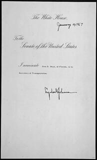 Message of President Lyndon B. Johnson nominating Alan S. Boyd of Florida to be Secretary of Transportation, 01/10/1967
