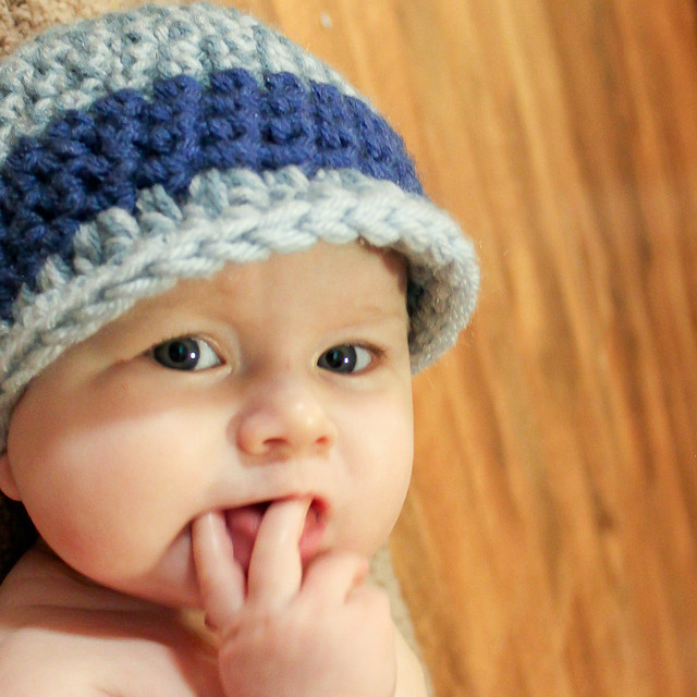 Head Huggers: Knit Pattern: Eyelet Rolled Brim Hat