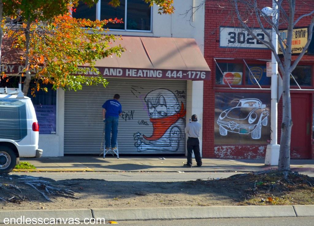 LOGO, PTV, 640, Graffiti, Oakland, EK, Street Art, Bella Ciao