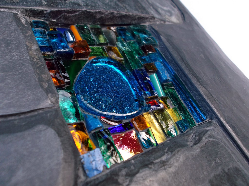 Little Joy 2011 Wall Relief Slate And Stained Glass
