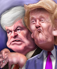 Newt Gingrich and Donald Trump - Caricatures