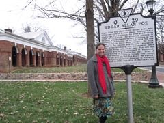 Jennifer with Poe's Historic Marker at UVA