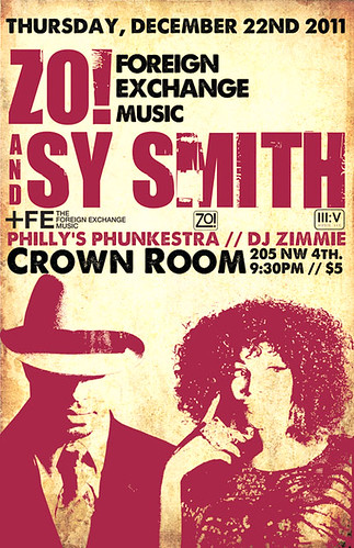 December 22: Sy Smith & Zo! (of The Foreign Exchange Music) and Philly's Phunkestra and DJ Zimmie @ Crown Room