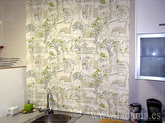 Fotograf as de cortinas de cocina la dama decoraci n - Cortinas originales para cocina ...