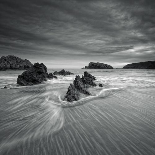 無料写真素材, 自然風景, 海, ビーチ・海岸, モノクロ, 風景  スペイン