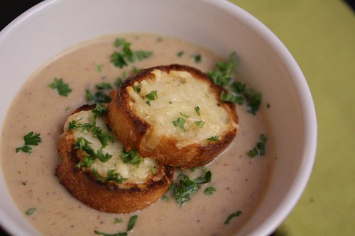 Cauliflower Soup with Gruyere Toasts