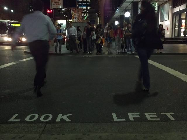 LOOK LFET - Sydney pedestrian crossing sign mistake :)