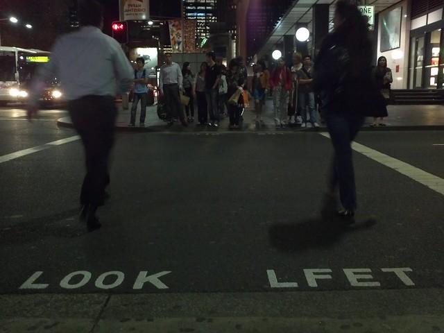 LOOK LFET - Sydney pedestrian crossing sign mistake :)