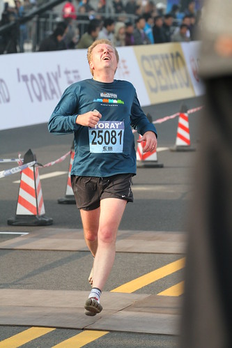 Giving it all at the finish line of the Shanghai Half Marathon 2011