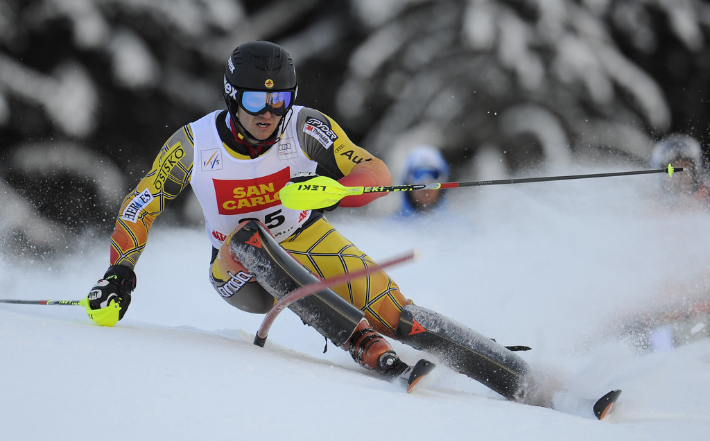 Brad Spence in Monday's World Cup slalom in Alta Badia, Italy.