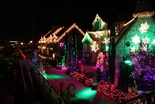 Waterfront Homes with Christmas Lights and Decorations, Naples, Long Beach, California